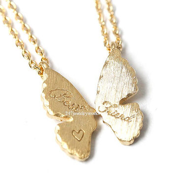 butterfly, butterfly necklace, bestfriends necklace, best friend necklace, friendship jewelry
