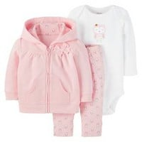 Baby Girls' 3 Piece Cardigan Set Glitter Owls Gold/Pink - Just One You™ Made by Carter's®