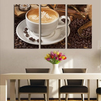 3 Panels Frameless Modern Coffee Wall Art Pictures Print On Canvas Painting For Home Kitchen Decoration A00848 (Size: 120cm by 80cm, Color: Tan)