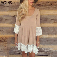 New Women Scoop Round Neckline Flared 2/3 Half Sleeve Lace Hem T-Shift Dress Summer Loose Mini
