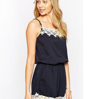 Blue Romper with Floral Lace Trim