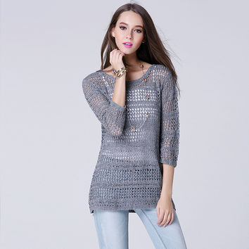 Hollow Out Three-quarter Sleeve Knit Tops Jacket [9010375878]