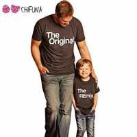 chifuna New 2017 Family Look Father Mother Daughter Son Top Tees Family T-shirts Casual Letter Printed Family Matching Outfits