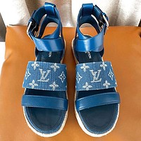 Louis Vuitton LV Sandals Women Cowboy Shoes Monogram Blue