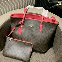 COACH High Quality Fashion Women Leather Handbag Tote Shoulder Bag Wallet Set Two Piece 7#