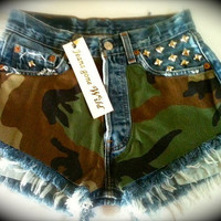 Levis high waist denim Camo shorts Studded super frayed in all sizes.