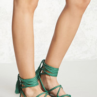 Faux Leather Ankle-Wrap Sandals