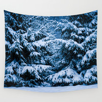 Winter Forest Christmas Tree Wall Tapestry by Digital2real
