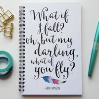 Writing journal, spiral notebook, bullet journal, feather, sketchbook, blank lined grid - What if I fall, but my darling what if you fly