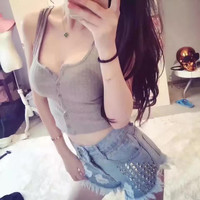 All-match Fashion Solid Color Round Neck Sleeveless Knit Buttons Vest Crop Top