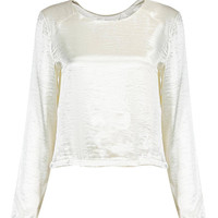 Silky Long Sleeve Top in White