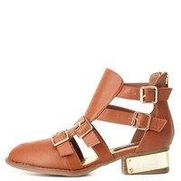 Dollhouse Belted & Gold-Plated Ankle Boots