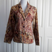 Coldwater Creek Tapestry Jacket, Earthtone Jacket, Ladies Womens Size Small Jacket, Rust and Gold, Vintage Tapestry Blazer