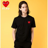 New COMME des GARCONS Mens Play Shirt Sleeve T shirt 100% COTTON TOP