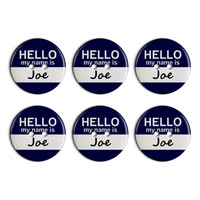 Joe Hello My Name Is Plastic Resin Button Set of 6