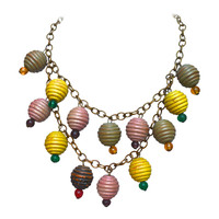 1930s Colorful Wooden Charm Necklace