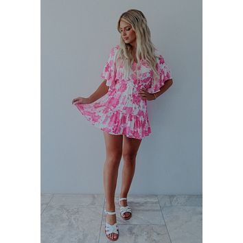 RESTOCK: Chasing Summer Dress: White/Hot Pink