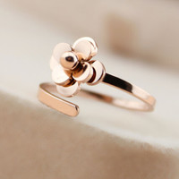 3D Rose Gold Open Ring Adjustable Gift-122