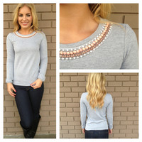 Grey Blush Stone Necklace Sweater Top