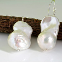 Fireball/flameball Baroque Nucleated Freshwater Pearl, bridal earring, wedding, bridesmaid, mother