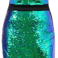 Clothing : Bodycon Dresses : 'Christie' Teal Sequin Strapless Dress