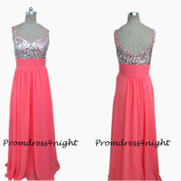 New Arrival Sweetheart Sequins Bodice Watermelon Chiffon Long Prom Dress/ Formal Evening Dress/ Formal Gown /  Long Party Dress