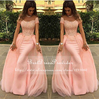 Long Evening Dress 2015 Gorgeous Mermaid abendkleider Lace Pink New Arrival Formal Evening Dresses Arabic Evening Gowns
