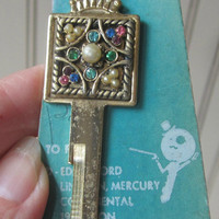 Vintage Key Blank Key Ring Jeweled Fits 50s Cars Edsel Ford Lincoln Mercury Continental from 1952 & on National Key Co