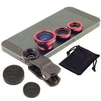 3 In 1 Clip-on Fish Eye Macro Wide Angle Mobile Phone Lens Camera kit for iPhone Samsung all phones