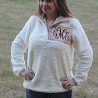Monogram Adult Sherpa Pullover, Fleece Sherpa Pullover, Monogrammed Pullover, Preppy Pullover Ivory, Personalized Sherpa, Gift, Christmas