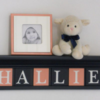 "NAVY CORAL Nursery Wall Decor / Room Decor - Personalized for Baby HALLIE on 24"" Navy Shelf with 6 Coral and Navy Blue Wall Letter Plaques"