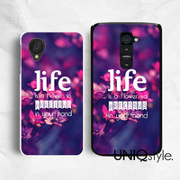 Life quote typo floral phone case for LG G2, Nexus 4, Nexus 5, LG google plastic back cover, pink purple floral flower, E50