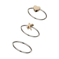Heart K Initial Midi Ring Pack - Rings - Jewelry - Bags & Accessories - Topshop USA