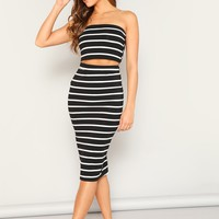 Striped Crop Bandeau Top & Split Skirt Set
