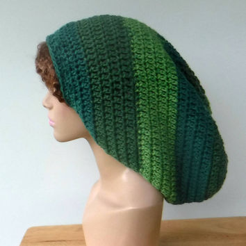 Mint green Long Dread tam hat, dreadlocks hat, wide handmade dreadlock sock hat/slouchy beanie