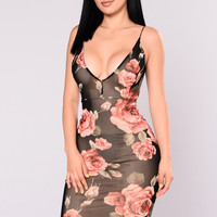 Surface Romance Mesh Dress - Black