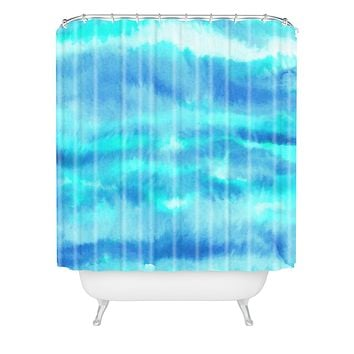Jacqueline Maldonado Ombre Waves Blue Green Shower Curtain