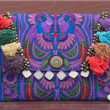 Handmade Ipad Cover Bag with Hmong Embroidered in Purple