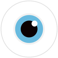 'Eye ball with blue iris stickers and wall clock' Sticker by Mhea