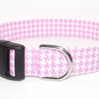 Pink and White Houndstooth Dog Collar