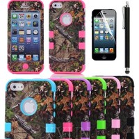 XYUN Triple Layer Hybrid Real Tree Camo Hybrid Hard Case Cover for Iphone 5 5g with Free Screen Protector + Stylus (Purple)