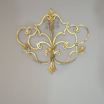 Large Wall Candle Sconce, Ornate Gold Metal Wall Taper Candelabra, Hanging Candle Holder