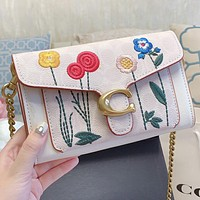 COACH New fashion embroidery floral chain shoulder bag crossbody bag handbag
