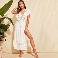 Guipure Lace Trim Tie Front Split Cover Up Without Bra Women Tops Sexy V Neck White Kimono Ladies Vacation Tops