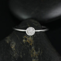 Diskco14kt Petite Round Disk Diamond Pave Ring (Other Metals and Stone Options Available)