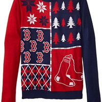 KLEW MLB Boston Red Sox Busy Block Ugly Sweater, X-Large, Red