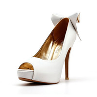 White Peep Toe Pumps with Back Bow. White Shoes. White Satin Heels. White High Heels. White Wedding Shoes.