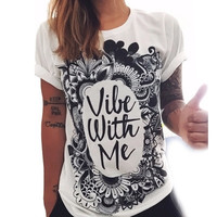 Summer Beach Holiday Cotton Floral Printed Black White Loose Alphabets Words Casual Party Playsuit Clubwear Bodycon Boho Top Shrit T-Shirt T-Shirt _ 4371