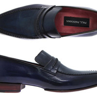 Paul Parkman men's handmade loafer navy leather upper and leather sole