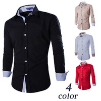 Color Contrast Slim Fit Shirt